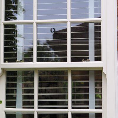 white sliding sash windows close
