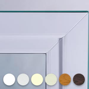 a close up of a sash window corner with colour samples at the bottom side